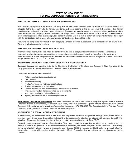 formal complaint letter form agreement template