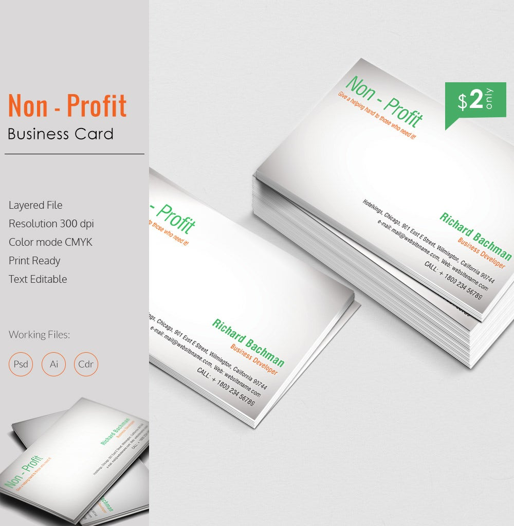 Elegant Non Profit Business Card Template Free Premium Templates - Print at home business card template