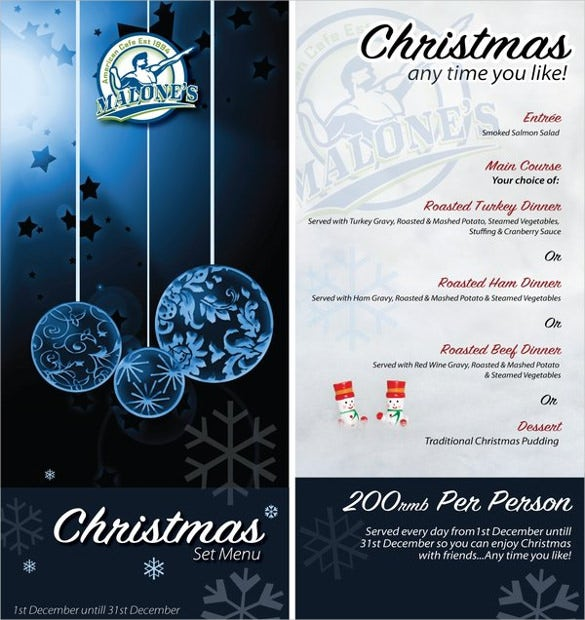 example christmas menu template