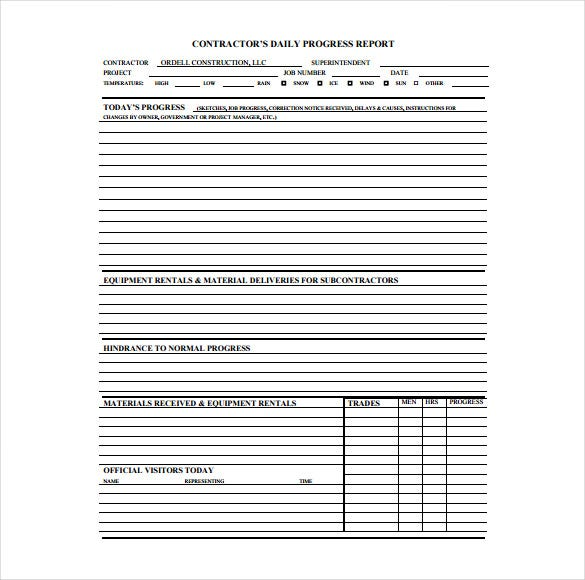 Daily Construction Report Template 25 Free Word PDF Documents – Daily Status Report Template