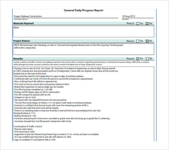 Free Progress Report Template  BesikEightyCo