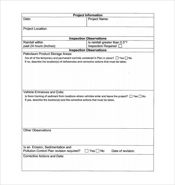 construction daily inspection report template pdf format