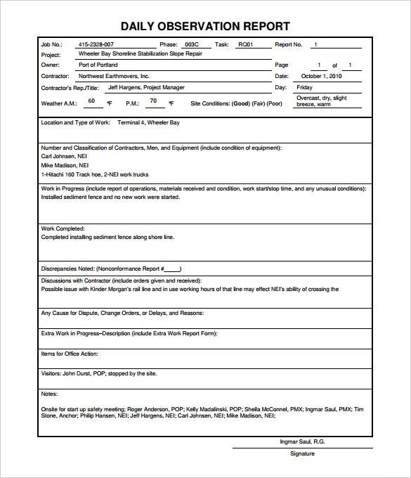 Daily Report Format For Construction Site Printable Editable – Daily Report Template Word