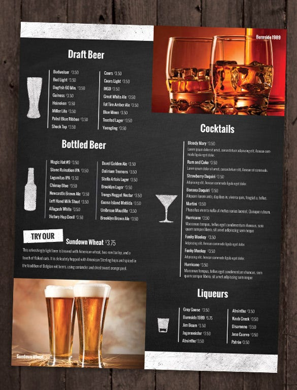 bar and lounge drink menu template sample download