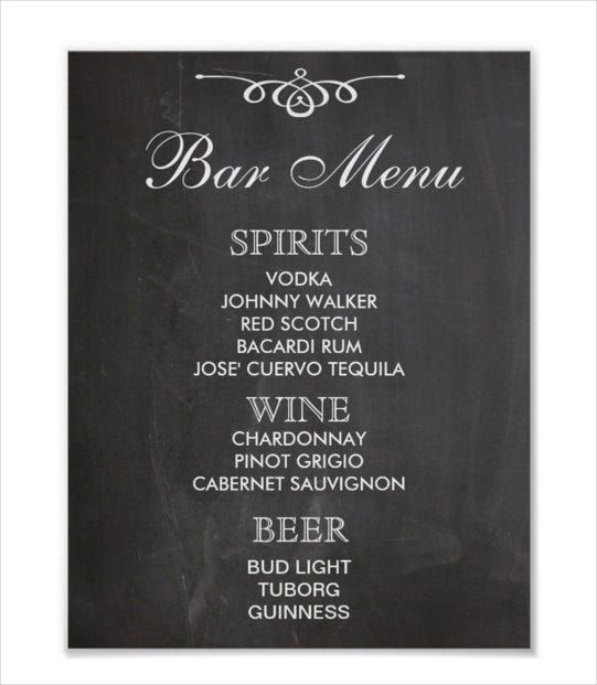 Bar Menu Templates Kleobeachfixco - Free printable drink menu template