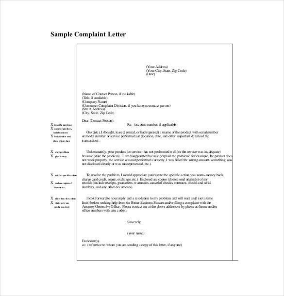 Letter of complaint template 10 free word pdf documents download free download altavistaventures Images