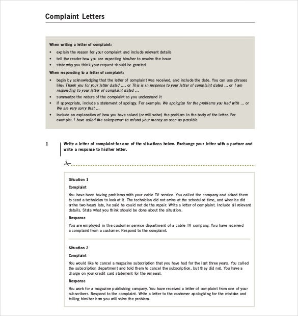 Letter Of Complaint Template   Free Word Pdf Documents Download