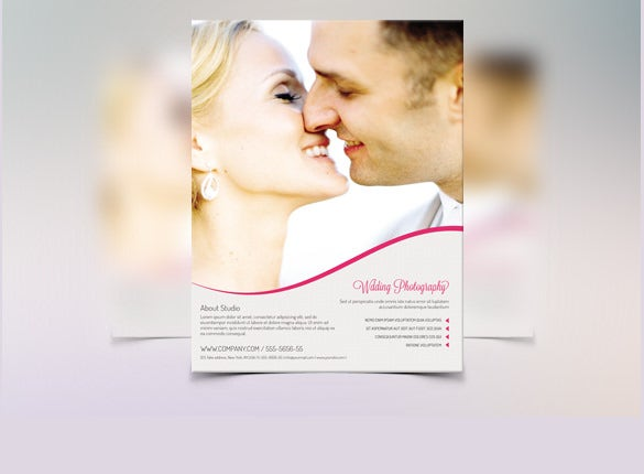 wedding flyer template with kissing couple