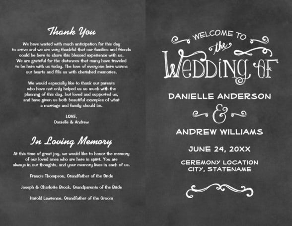 chalk board theme wedding flyer template download