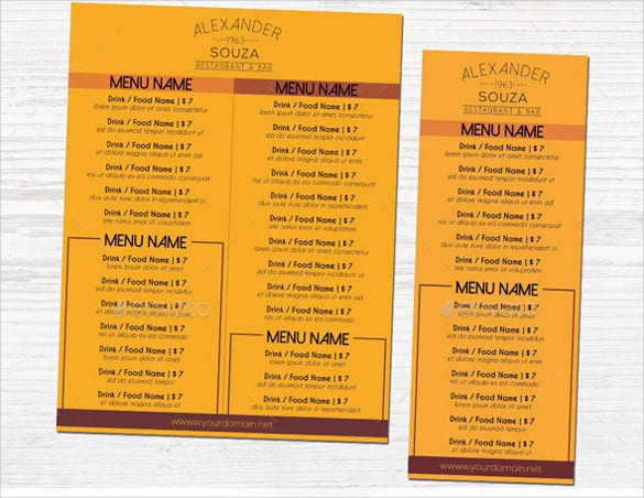 free drink menu template