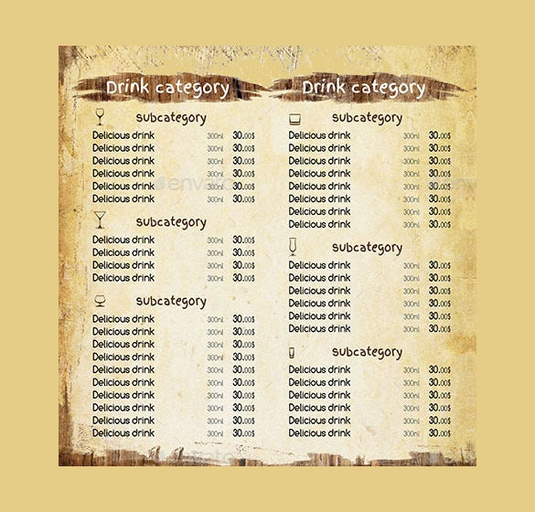 Bar Menu Templates  Free Sample Example Format Download
