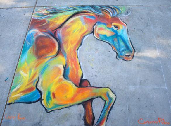 horse chalk art