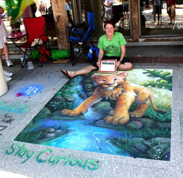 baby tiger chalk art