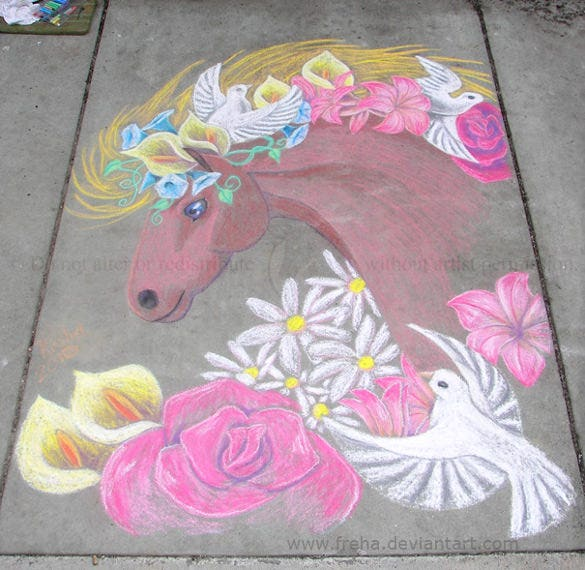 beautiful chalk horse