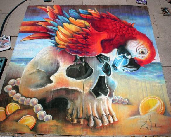 parrot chalk art