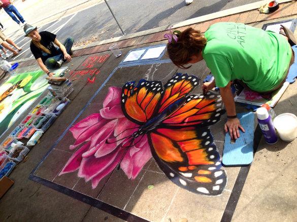 butterfly chalk art