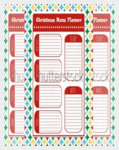 Christmas Menu Planner Vector