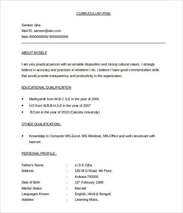 BPO Resume Template 22 Free Samples Examples Format Download – Word Document Templates Resume
