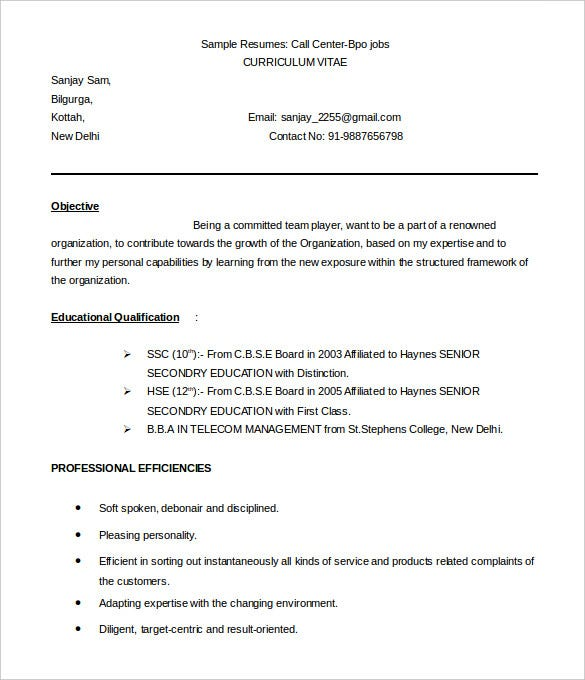 callcenter bpo resume template sample word download - Free Sample Resume Download