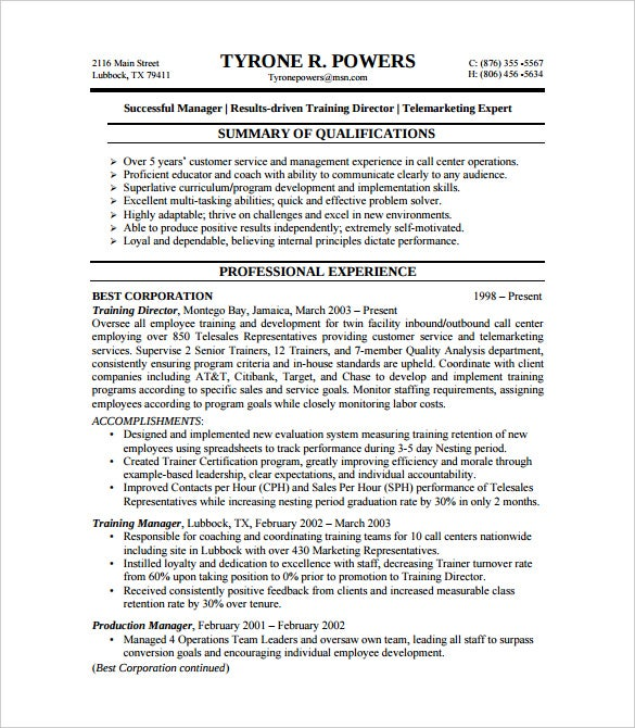 BPO Customer Service Resume Example Template PDF Download  Resume Examples For Experienced Professionals