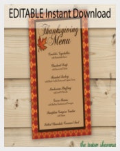 Editable Instant Download Thanksgiving Menu Template