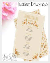 Printable Thanksgiving Menu Template Download
