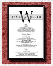 Wedding Reception Dinner Menu Template