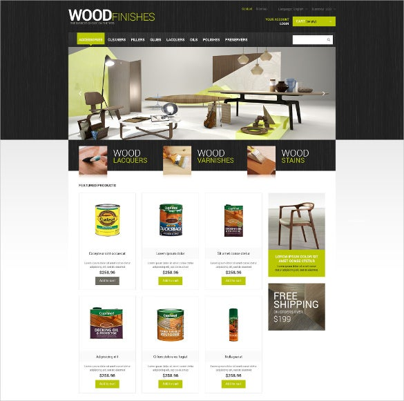 wood finishes furniture store prestashop theme