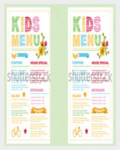 Kids Menu Card Vector Template