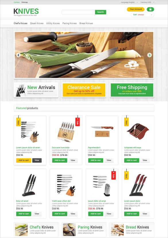 kitchen knives furniture prestashop theme
