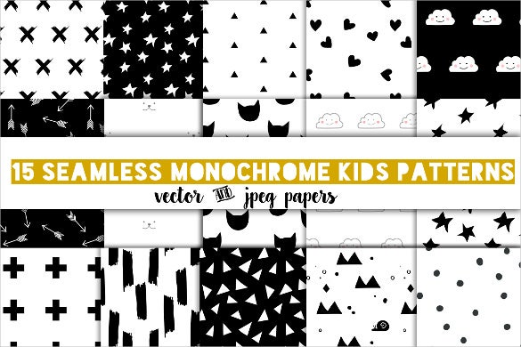 modern kids black and white pattern