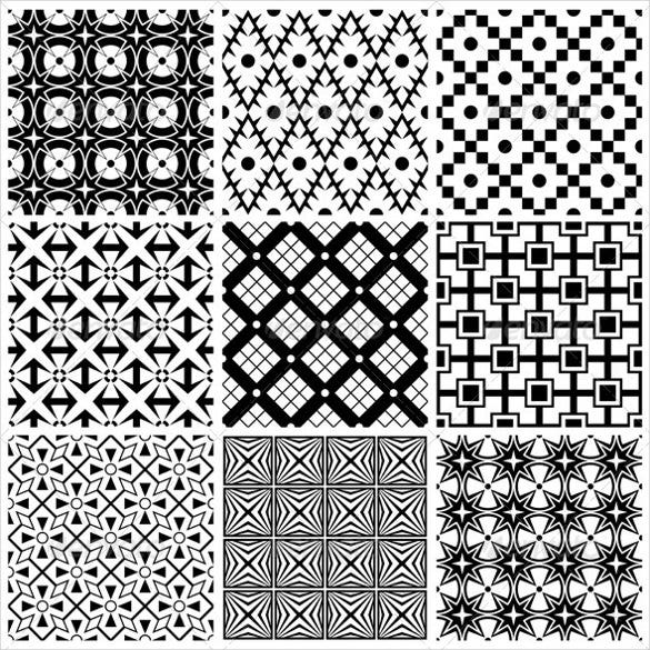 multiple black and white patterns