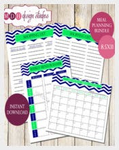 Monthly Menu Planner Meal Organizer Template