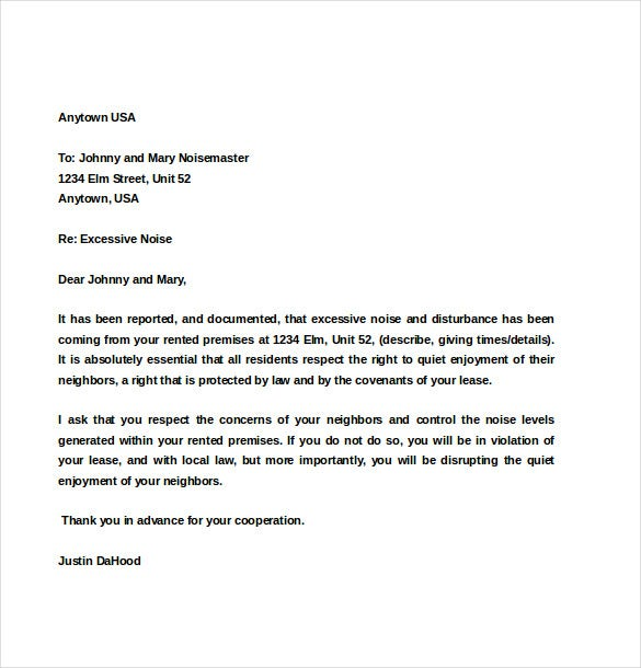 Tenant Noise Complaint Letter Template Download
