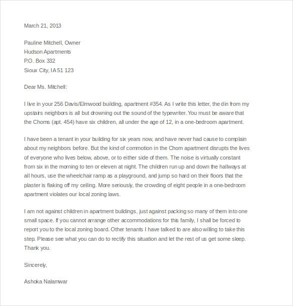 noise complaint letter to appartment manager