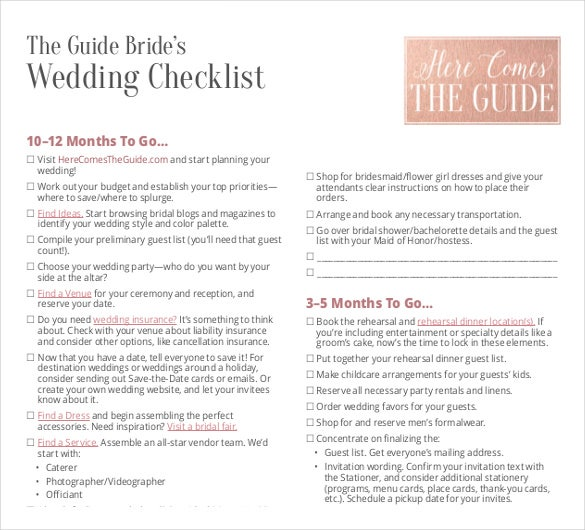 Wedding List Template - 10+ Free Word, Pdf Documents Download