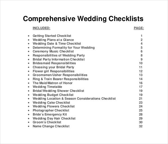 Wedding List Template   Free Word Pdf Documents Download  Free