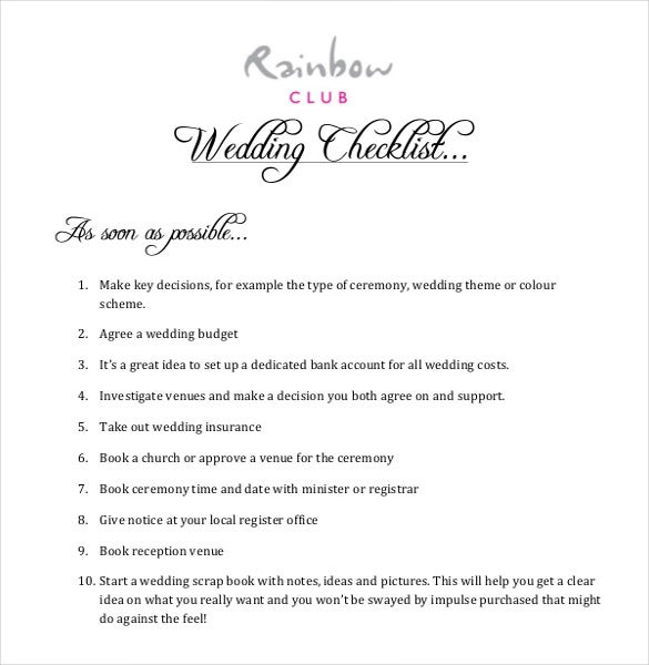 easy to download wedding checklist template