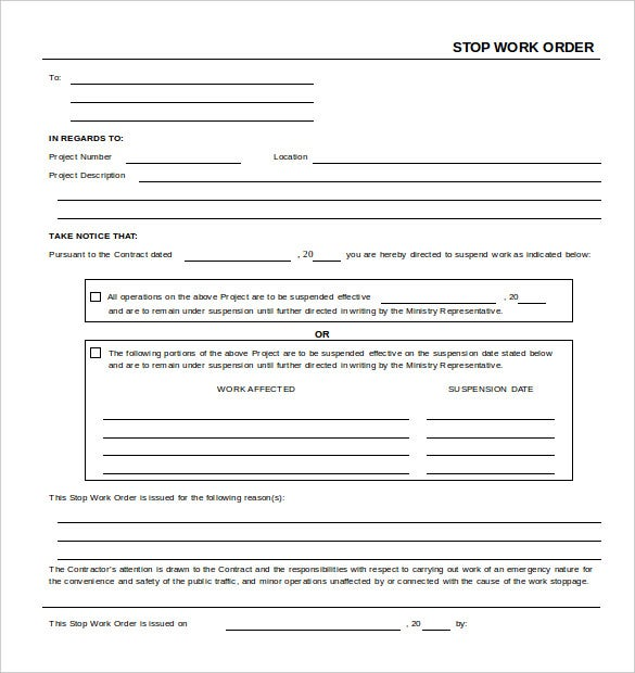 stop work order template ms word free download