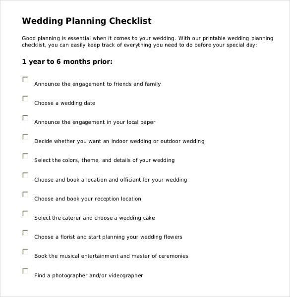 wedding check list template pdf format download