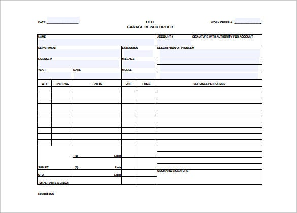 auto repair work order template word format download
