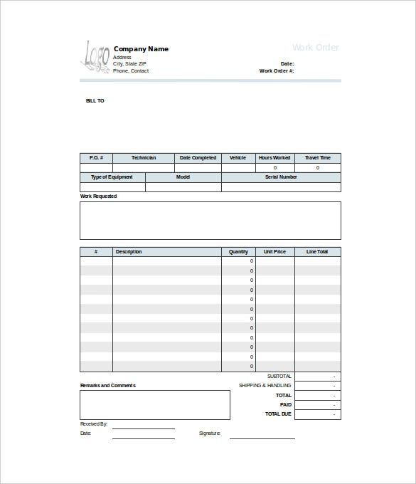 basic work order template free editable download