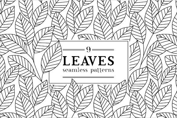 leaves black and white pattern