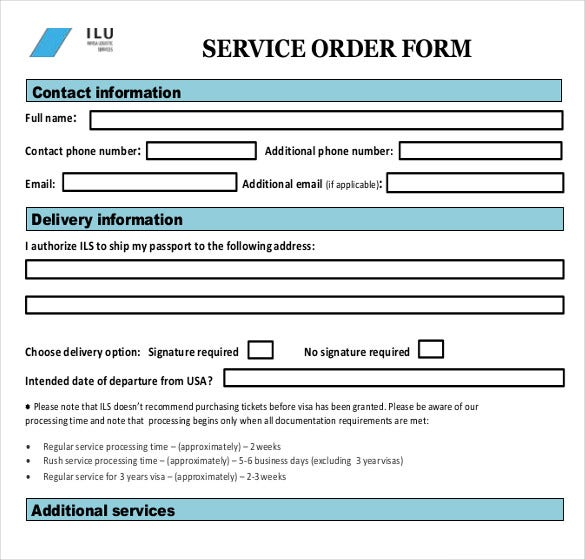 service order template Sample Service Order Template - 19  Free Word, Excel PDF Documents ...