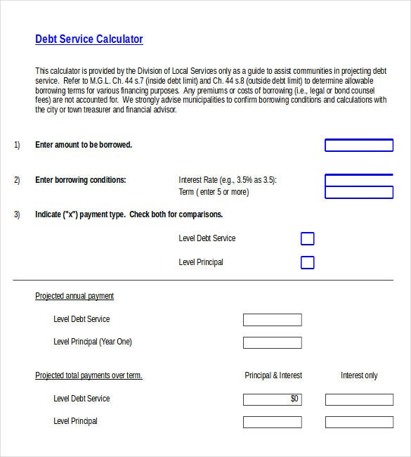 debt service order calculator template free excel format download