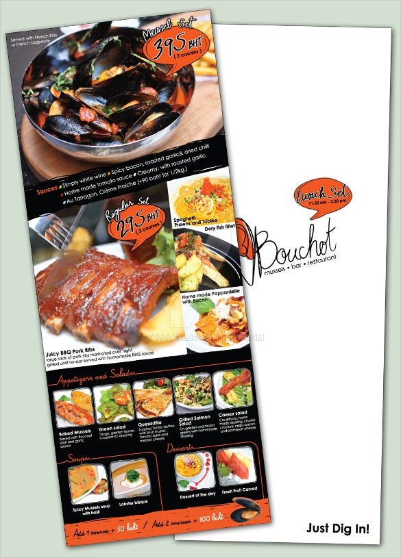 example bouchat lunch menu design template download