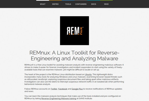 remnux malware analyis tool