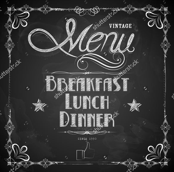 illustration format of lunch menu written on chalkboard template