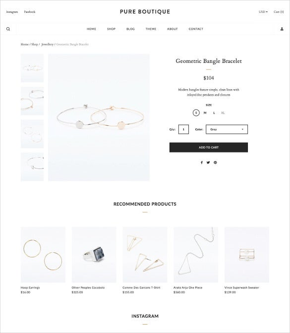 jewelry accessories woocommerce psd template