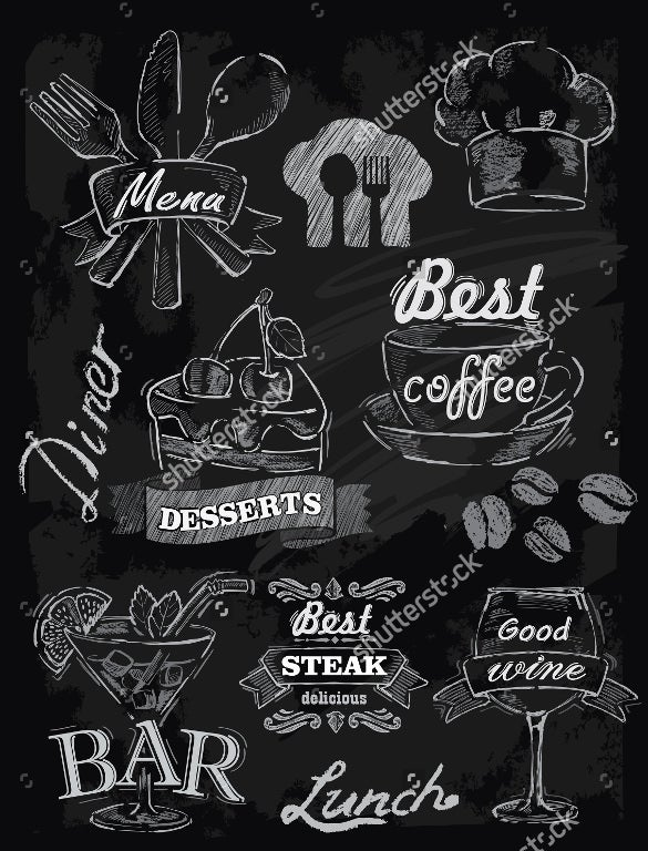 chalk lunch menu set on chalkboard background vector format download